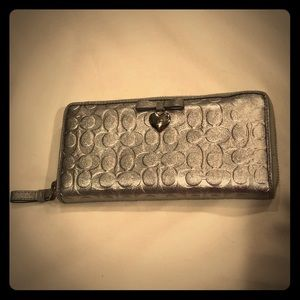 Silver Coach Leather Heart Bow Zippered Wallet